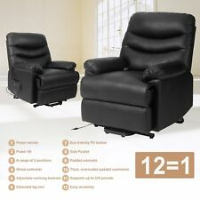 Upholstered Heavy Duty Power Recliner Lift Chair Soft PU Leather Side Pocket New