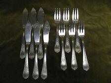 6 couverts à poisson metal argente rocaille (6 fish forks & knives ) Frionnet