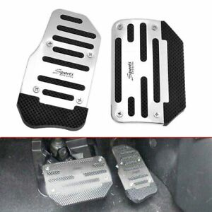 1 Pair Non-Slip Pedal Automatic Gas Brake Foot Pad Cover Car Accessories Silver