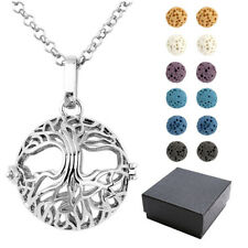 Tree of life Lava Bead Locket Aromatherapy Essential Oil Diffuser Necklace Set