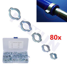 80x Dual Ear Motorcycle ATV Hose Clamp Oil Water Fuel Air Pipe Clip Crimp 6Sizes