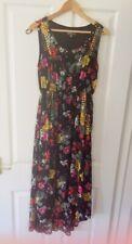 Damas Para mujeres niñas Albaricoque Floral Negro Rojo Amarillo Forrado Maxi Vestido Talla 12