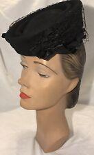 Vintage 1940s Merrimac Black Felt Tilt Hat Satin Halo Netting Detail