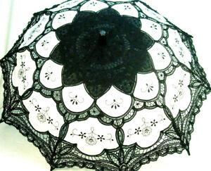 Parasol Black White Cotton battenburg lace Victorian EdwardianVintage style new