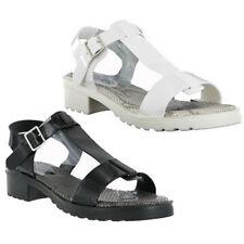PVC Jelly Summer Beach Flexible Small Heel Retro Buckle Womens Sandals UK3-8