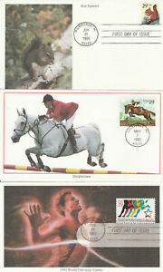 Lot of (3) 1993 FDC, University Games, Steeplechase, Red Squirrel