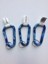 Blue Camo Carabiners, Snap Ring, Key Ring Lot of 3