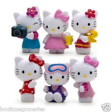 6pcs HelloKitty Action Figure Summer Cool KT Cat DIY Micro landscape New Kid Toy
