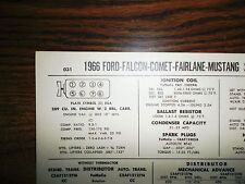 1966 Ford, Falcon, Fairlane, Comet & Mustang EIGHT 289 CI V8 2BBL Tune Up Chart