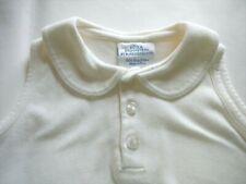 Bella Bliss Girls 4 White Pima Cotton Shirt Pique Round Scallop Edge Collar EUC