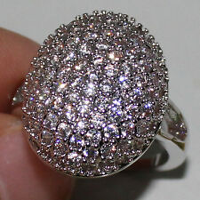 Size 8 Handmade Bella Wedding Engagement 925 Silver Pave Set Topaz Ring Gift