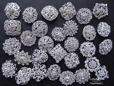 100 Brooch Lot Mixed Silver Pin Wholesale Rhinestone Crystal Wedding Bouquet DIY