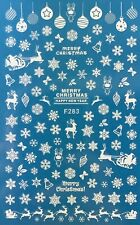 Nail Art 3D Decal Stickers White Snowflakes Bells Santa Reindeer Christmas F283