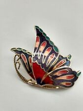 Vintage Multi Color Guilloche Cloisonne Enamel Butterfly Brooch Pin