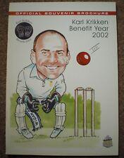 Karl Krikken 2002 Cricket Testimonial Programme Memorabilia Benefit Brochure