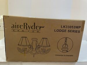 Antler Chandelier AireRyder Lodge Rustic Ceiling Light Kit Faux Leather Shade