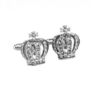 Men'S White Crystal Crown Silver Fashion Shirt Men Cuff Links Wedding Groom