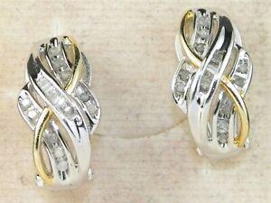 Sterling Silver .925 Diamond-.17 tcw Fine Omega Back Earrings