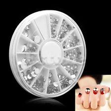 Blanc Nail 300pcs 3D Art Tips Gems strass cristal DIY Décoration avec roue