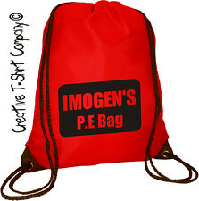 "RED PERSONALISED P.E SWIM, SCHOOL SPORTS, GYM, DRAWSTRING BAG ""ADD YOUR TEXT"""