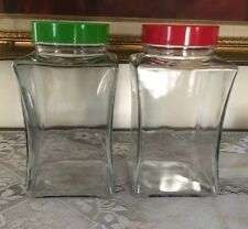 """Vintage 6/"""" Height Pasabahce Storage Jars With Easy Grip Lids"""