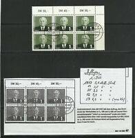 """DDR 1958 MiNr. 622 a rechter OR 6erBlock gestempelt 1957 (!) """"G"""" mit DBZ/SE 2/99"""