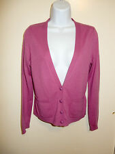 ELLEN TRACY 100% CASHMERE MAGENTA LONG SLEEVES 2 POCKETS CARDIGAN SWEATER XS