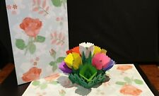 Luxury 3D Pop up Multi colour Flowers Greeting Card.(Mother's day, Valentine's,
