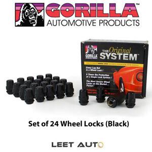 Gorilla The System (24) Wheel Locks, 12mm x 1.25, Bulge Acorn, Black, 71624NBC