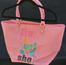 """JUICY COUTURE """"Live To Surf And Shop"""" PINK pvc Large BEACH Tote Bag **GUC**"""