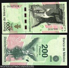 MEXICO 200 PESOS P129 2010 COMMEMORATIVE 100th REVOLUTION LIBERTY NOTE UNC NOTE