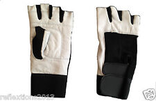 Leather Gloves Weight lifting Cycling Motrbike Rider Biker Black & White Gloves