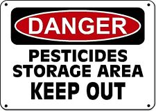 "Danger Sign - PESTICIDES STORAGE AREA KEEP OUT - 10""x14"" OSHA Sign"