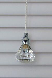 Set of 2 Gorgeous Acrylic Crystal Diamond Window Blind Shade, Roman Shade, Pull