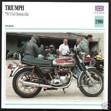 1980 Triumph 750cc T140 Bonneville Bonnie Motorcycle Photo Spec Sheet Info Card