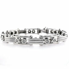 14k White Gold Men's Diamond Bracelet 2.83 CTS- Mens Gold Diamond Bracelet