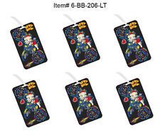 SET OF 6 - Lenticular Betty Boop Luggage Tags - Motorcycle Flip #6-BB-206-LT#