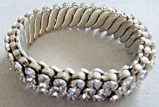 Vintage Art Deco Style Stretch Expansion Bracelet Clear Rhinestone Signed Empire