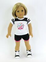 "Doll Clothes 18"" Shorts Black Top Star Silkscreen Fits American Girl Dolls"