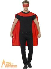 Red Superhero Cape and Eye Mask Adults Hero Fancy Dress Accessory Smiffys 41580