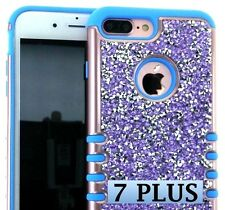 For iPhone 7+ Plus - HYBRID HARD&SOFT RUBBER CASE COVER BLUE PURPLE DIAMOND STUD