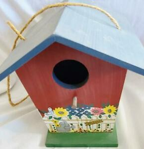 Vintage Hanging FTD Wood Birdhouse Cottage 6-1/4 inch Tall