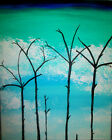 """Still Life Forest Fire Woods Painting by West Davis Acrylic 20"""" New From Gallery"""