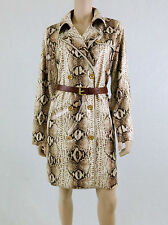 MICHAEL KORS Trench Coat Double Breasted Faux Leather Python Tan 10