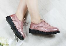 WOMENS LADIES LACE UP METALIC PLATFORM WEDGES FLAT BROGUES LOAFERS CREEPERS SIZE