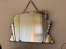 1930's Art Deco Yellow and Clear Fan Mirror