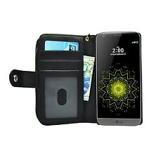Black PU Leather Zip Purse Wallet Pouch With Coin and ID Card Pockets for LG G5