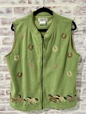 Mandal Bay XL Green Vest Equestrian Rodeo Embroidered Farmgirl Western Full Zip
