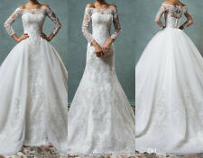Full Lace Mermaid Wedding Dresses With Detachable Train Off Shoulder Custom Size