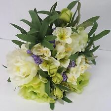 ARTIFICIAL FLOWERS TIED MIXED BUNCH ROSES HELIBORES FREESIA LAVENDER 30CM LG